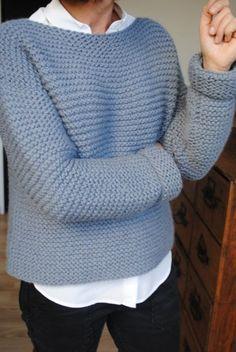 DIY Pull point mousse Une souris dans mon dressing - bulky garter stitch sweater. Tutoriel gratuit, français.