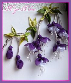 Ribbon Embroidery Flowers by Hand - Embroidery Patterns Nigar Hikmet - Turkey (Pinned to show a simplier version of ribbon art for us… Purple and Lavender Fuchsia. RİBBON FUCHSİA by nigarhikmet, I love this color,purple! Ribbon Fuchsia--so life like Ribbon Embroidery Tutorial, Fabric Flower Tutorial, Embroidery Patterns Free, Silk Ribbon Embroidery, Embroidery For Beginners, Embroidery Kits, Fabric Flowers, Embroidery Designs, Embroidery Stitches