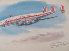 Vintage United Airlines Print Poster Lockheed by TheManlyMan