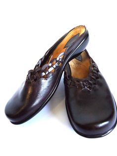 Womens Clarks Flats Clogs Mules Slip On Loafer Shoe Brown Leather 7M NEW Trendy