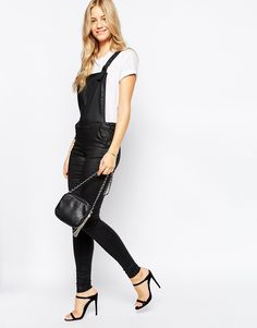 Your weekend requires leather-look dungarees <3