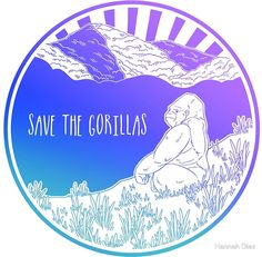"""""""Save the Gorillas!"""" Stickers by Hannah Diaz Framed Prints, Canvas Prints, Art Prints, Save Our Earth, Cool Cartoons, Laptop Stickers, Iphone Case Covers, Overlays, Artwork"""