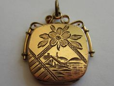 ANTIQUE VICTORIAN GOLD FILLED PLATED HAND ETCHED SCENIC LOCKET FOB CHARM