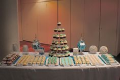Aqua & white engagement party dessert buffet by Bliss Party Designs Dessert Buffet, Dessert Tables, Engagement Party Desserts, Food Crush, Sweet Desserts, Party Planning, Party Time, Bliss, Our Wedding
