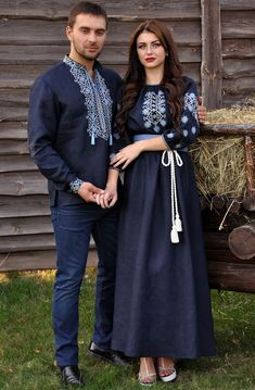 organic linen embroidered navy long dress by SlavicPassion Stylish Dresses For Girls, Simple Dresses, Frock Fashion, Fashion Dresses, Afghan Dresses, Moda Boho, Dress Indian Style, Mexican Dresses, Embroidered Clothes