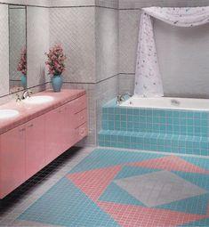 "jpegfantasy:"" A Portfolio of Bathroom Ideas, Cowles Publishing, 1994 📚Salvaged & scanned by 🖨️"" Retro Home Decor, Home Decor Trends, 80s Interior Design, Pastel Bathroom, Blue Bathtub, Black Interior Doors, Interiors Magazine, Vintage Bathrooms, California Homes"
