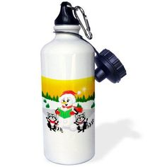 3dRose Raccoons and Snowman Singing Christmas Carols on a Winter Background, Sports Water Bottle, 21oz