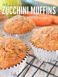 Healthy Zucchini Muffins With Apples & Carrots: The muffins are a delicious and nutritious treat. Kids will think they're enjoying carrot cake, they're just that good!