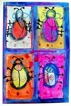Four Fancy Beetles. Art Lesson for kids.