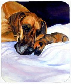 Fawn Natural Great Dane and Puppy Mouse Pad, Hot Pad or Trivet