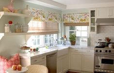 House of Turquoise: Bonesteel Trout Hall. love the airy feel of this kitchen and the fabric used on windows/ love the window treatments Kitchen Inspirations, Small Kitchen, Kitchen Window Treatments, Kitchen Remodel, Kitchen Decor, Kitchen Dining Room, Home Kitchens, Kitchen Valances, Cute Kitchen