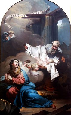 The Nativity of Jesus Christ // by Jean Charles Frontier (France) // Saint Joseph holding the Child / Virgin Mary // #Christmas #Navidad