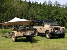 Land Rover 109 Serie IIA Soft Top with canvas and trailer. Camping.