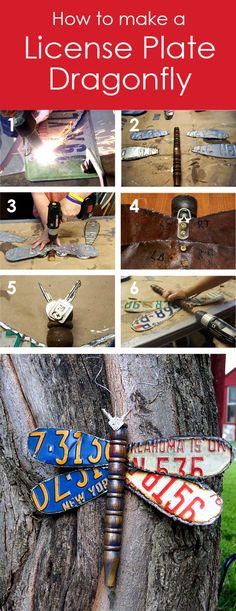 How to make a cute dragonfly using old license plates, a chair leg, fence wire and old keys. The wings are cut with a plasma cutter, and then screwed into drilled holes in the leg...