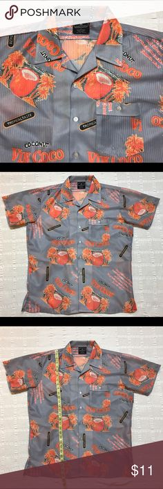 Men's size large Button Down Hawaiian shirt Nice Pauly & Forbes Hawaiian print shirt in a size large. Bright orange on gray, pointed collar, button down, good pocket Detailed pictures included! Pauly & Forbes Shirts Casual Button Down Shirts