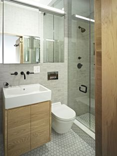 Inspiration Ideas from Beautiful Small Bathroom Pictures: Charming Small Bathroom Pictures Contemporary Bathroom With White Hexagonal Tile Floor With White Square Washbowl With Wooden Cabinet Simple Black Faucet With Glass Door Shower Room ~ blingfun.com Bathroom Design Inspiration