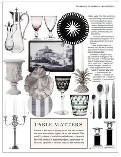 Shop our wide selection of luxury tabletop accessories from serving dishes, cutlery, glassware & even patterned trays. Shop our luxury tableware sets today! India Jane, Tabletop Accessories, World Of Interiors, Cutlery Set, Candlesticks, Monochrome, Table Settings, Gallery Wall, Entertaining