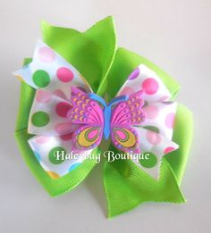 Spring Butterfly Hair Bow Girls Hair Bows by HaleybugBowCreations