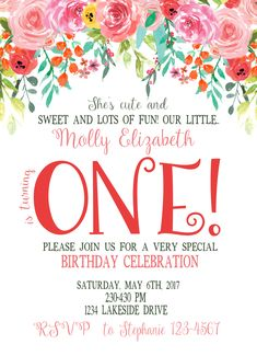 Floral First Birthday. Garden First Birthday. She's cute and sweet and lots of fun! Birthday Celebration, Birthday Parties, Custom Birthday Invitations, Garden Birthday, Special Birthday, First Birthdays, Party Ideas, Sweet, Floral