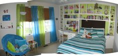 A Hip Pre-Teen Bedroom , This was a bedroom update for my pre-teen daughter.  Mom wanted something colorful and organized where she can do her homework and chill with her friends., A stitched picture showing the whole room    , Girls Rooms Design