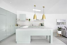 Mint green kitchen w