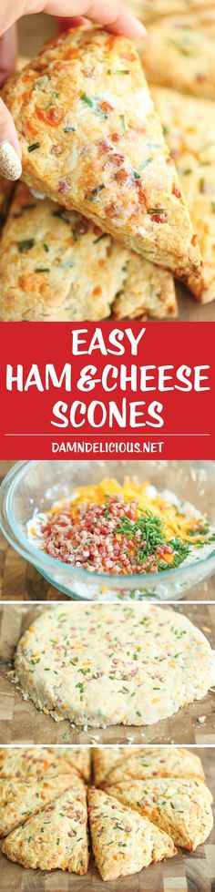 Ham and Cheese Scones - Easy peasy ham and cheddar scones perfect for any time of day - perfect as breakfast, snack-time, appetizer or with a bowl of soup! (recipes for snacks breakfast ideas) Breakfast And Brunch, Breakfast Recipes, Scone Recipes, Breakfast Casserole, Breakfast Ideas, Breakfast Scones, Breakfast Snacks, Bread Recipes, Easy Recipes