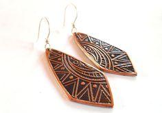 Abstract Aztec Copper Sun Earrings Sterling by SnazzyTrinkets