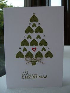 Christmas Card: A simple Christmas card made of small hearts punched from cardstock, basic rhinestones, and linen thread.