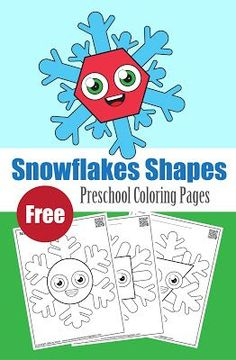 snowflakes with basic shapes preschool coloring pages ,free printables for kids