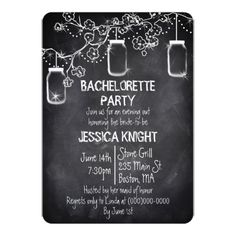 bachelorette party country wedding invitations Mason Jar Chalkboard Rustic Bachelorette Party Card