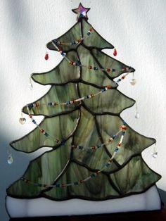 Glass Christmas tree w/ Swarovski Crystals - Stained Glass Tree   CreativeArtglass ArtFire Gallery