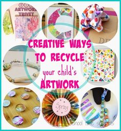 Feeling guilty over throwing your child's artwork away? Well, here are 15 Creative Ways to Recycle Your Child's Artwork from creating a new piece of art to a gift for a loved one!