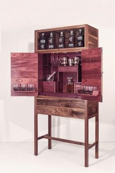 American black walnut with purple heart interior | John Galvin Whiskey Cabinet