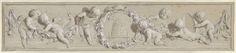 Jacob de Wit | Fries van putti met bloemenkransen gegroepeerd om een bijenkorf, Jacob de Wit, 1705 - 1754 | Fries van putti met bloemenkransen gegroepeerd om een bijenkorf; verder met een haan en een zeef. Ontwerp voor een schildering.