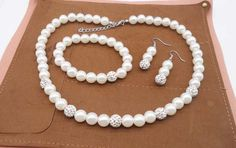 Fashion Crystal Ball Simulated Pearl Beads Necklace Earrings Bracelet Charm Jewelry Set For Women