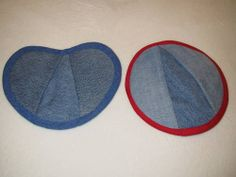 Denim potholders by kbrison on Craftster.org This would be a great way to use old jeans!