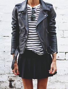 grunge spring look - black leather jacket, striped t, black mini skirt