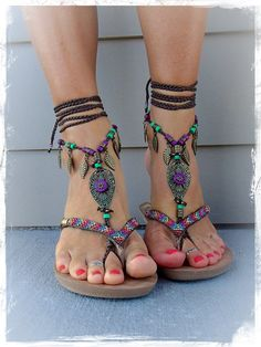 Woodland FAIRY BAREFOOT sandals Brown Forest Green Tribal ANKLETS Gypsy Sandals Garden Wedding Leaf Toe ankle bracelet Nature jewelry GPyoga :)