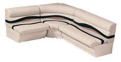 """Wise 1100 Series Premier Pontoon Furniture - 8-1/2' Wide Boat Rear Entry """"L"""" Group - Platinum/Jade/Fawn"""