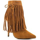 Capture a lively look in the Capilla by Privileged.  Fun swinging fringe covers the 6 1/2 inch shaft for an animated and carefree look.  Brown fabric sweeps over the silhouette from pointed toe to 4 3/4 inch heel.