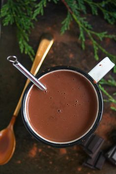 Coconut Milk Peppermint Hot Chocolate - my go to winter drink made with full fat coconut milk and natural sweeteners with a touch of peppermint extract. Rich, creamy, and completely dairy free! Make it as is or play around with your own flavorings.