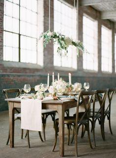#Rustic #Industrial #WeddingInspiration #TaperCandles #FloatingFlorals