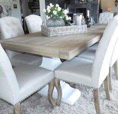 New kitchen table centerpiece farmhouse chairs Ideas Dining Room Table Decor, Elegant Dining Room, Dining Room Design, Dining Room Furniture, Living Room Decor, Dining Rooms, Furniture Sale, Room Chairs, Farmhouse Chairs