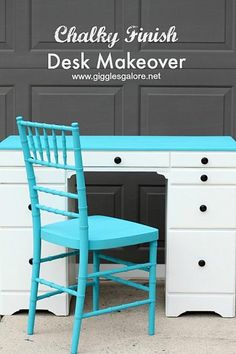 Blue and White Chalky Finish Desk Makeover #chalkyfinish #decoartprojects
