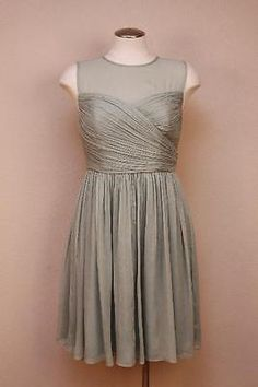 JCrew Silk Chiffon Clara Dress 8P Dusty Shale cocktail party bridesmaid $275