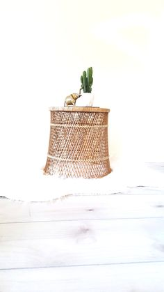 Vintage Rattan Drum Table Side Table Bohemian Home Plant Stand Wicker Round Ottoman Coastal Beach Home Decor Boho Home Nomad Au Natural by LUCKYHOMEFINDS on Etsy