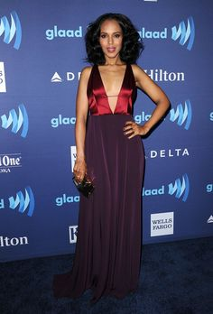 Pin for Later: The Stars Showed Off at This Weekend's GLAAD Media Awards Kerry Washington Kerry rocked a two-tone, low-cut Hellessy gown, becoming the latest star to try out the deep-V trend we've been seeing a lot of lately.