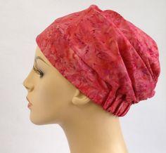 Turban Hat, Chemo Hat, Sleep Hat, Alopecia Cap, Slouch Hat, Pink floral, Rayon Batik, Boho