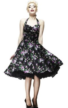 Retro Glam - Hellbunny Black Floral May Day Dress