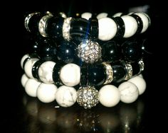 Black and White Stacked Gemstone Bracelet Set by NGeniousCreations, $50.00